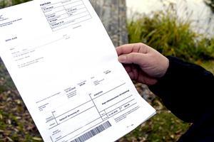 Här är fakturan på 200 kronor som Ylva Lehnbergs mamma skulle betala till ett utländskt konto i Finland.