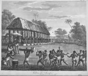 Årlig rit med människooffer i Dahomey. Illustration från 1793 ur Archibad Dalzels