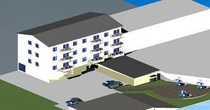 Ungefär så här ska hyreshuset se ut när det står klart, enligt Husinvest egna illustration.
