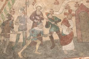 Här blir Jesus fängslad av romerska soldater.