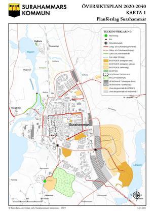 Så här föreslås att Surahammar ska utvecklas kommande 20 åren.  Mest utmärkande är det stora bostadsområde vid Långsjön som kommunens beslutsfattare kan tänka sig. Karta: Geodatasamverkan och Surahammars kommun