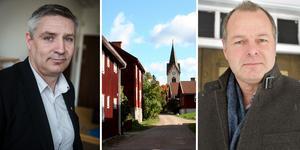 Kommunalråd Lars Isacsson (S) gillar inte oppositionsrådet Johan Thomassons (M) förslag att göra om Gamla byn till bostadsrätter.