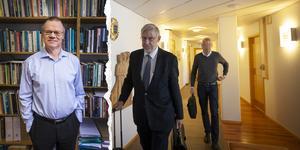 """Tage Alalehto, expert på ekonomisk brottslighet och docent i sociologi vid Umeå Universitet. Foto: Per A Adsten/VK. Advokat Jan-Åke Nyström med sin klient """"Peabmannen"""". Foto: Linda Hedenljung."""