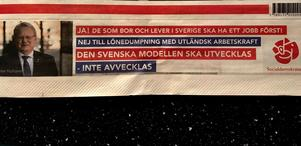 Sådana här annonser från Peter Hultqvist hade varit otänkbara i valet 2014, men nu slår S in på den auktoritära vägen i valkampen.