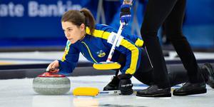 Anna Hasselborg, lagledare i Lag Hasselborg, under VM-finalen på söndagen.