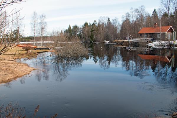 Översvämmade marker i Fliken runt sjön Gäsen.