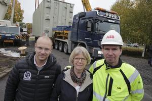 Wilhelm Jacobsson från ABB, Lisbeth Söderling från Samarkand 2015 och Carl-Fredrik Norgren från ABB har förståelse för alla kritiska synpunkter men tror att det kommer att låta annorlunda när landmärket invigs.