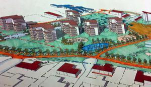Riksbyggen vill bygga terrasshus med cirka 100 lägenheter vid Ekbergaskolan.Illustration: Riksbyggen