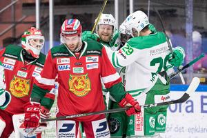 Brandon Gormley och hans Mora föll tungt mot Rögle. Bild: Daniel Eriksson/Bildbyrån