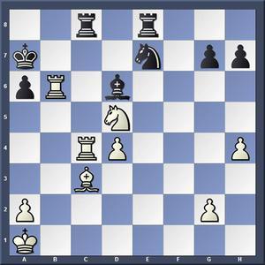 Lösning: 1.Ta4 Sxd5 2.Taxa6.