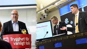 Sverigedemokraterna har inga planer på att förbättra livet för vanligt folk. När man tittar på deras budget för 2020 och jämför skattesänkningar och satsningar så blir det ett minusresultat på 19,5 miljarder kronor. Det motsvarar 25 000 färre tjänster i kommuner och landsting, skriver Karl-Petter Thorwaldsson, ordförande LO. Bilder: Fredrik Sandberg/TT / Alexander Larsson Vierth/TT