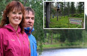 Gunilla och Dan Thornberg vill bygga en ny klätterpark vid Backetjärn. Förebilden är hämtad från Rypetoppen i Norge (infälld bild) och skulle bli en av Sveriges största klätterparker.