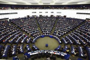 Här i EU-parlamentet i Strasbourg tillbringar Maria Tiger Bodlund några av sina arbetsdagar. Foto: Fredrik Persson / TT