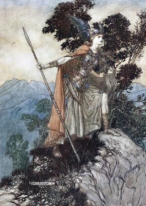 Valkyrian Brünhilde i Richard Wagners  operor om Nibelungens ring är en förebild för prinsessan Leia i George Lucas filmer om Stjärnornas krig. Illustration av Arthur Rackham från 1910.