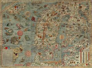 Karta över Norden i Olaus Magnus