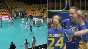 Jubel efter ett av Sveriges tolv mål i gruppfinalen mot Schweiz. Bild: TV12.