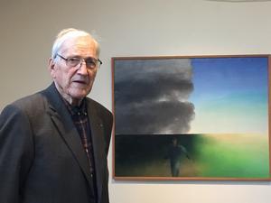 Alf Olsson vid målningen