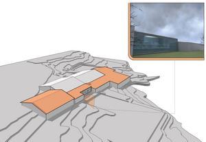 Den nuvarande tennishallen i grått, det övriga är tillbyggnader. Totalt blir anläggningen 14 000 kvadratmeter, det vill säga som två fullstora fotbollsplaner. Skiss: Sundsvalls Tennisklubb