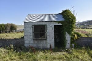 Långsamt tar murgrönan över den bortglömda kontrollstationen på gränsen mellan Irland och Nordirland. Foto Wiktor Nummelin / TT