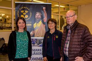 Jessica Dorf, Visit Söderhamn, Marit Brodd, Svenska bordtennisförbundet och Lennart Andersson, pingisveteran i SPM (Söderhamns pensionärers motionsklubb) och Suif.