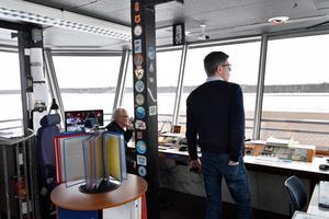 Per Land och Anders Mjöberg i tornet på  Mora-Siljan flygplats
