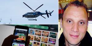 En helikopter deltog i sökandet efter Thomas Forsberg när han lämnade hus och hem  i juli efter att spelmissbruket urartat. Bild: TT/Arkiv