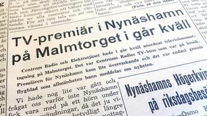 TV-veckan 1954. Visningen i Nynäshamn var en del av de provsändningar från Tekniska högskolan i Stockholm som hölls mellan den 17 och 25 maj 1954.