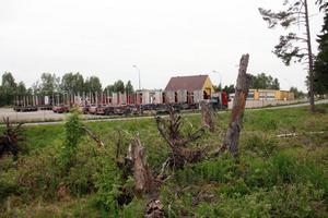 Utanför Göranssons vägstation syns fortfarande rötterna efter omkullblåsta träd.