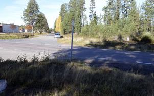 Här på kullen vid busshållplatsskylten ska minnesstenen lyftas fram från dess undanskymda placering.