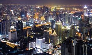 Skyline över Bangkok.
