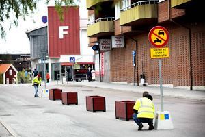 Östra hamngatan i Falun som sedan våren 2015 stängts av för genomfart sommartid.