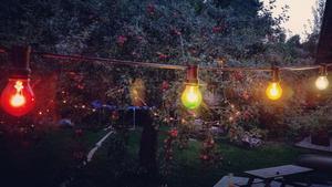 Den färgade ljusslingan sattes upp till en fest i somras, sedan har den fått vara kvar.