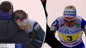 Ida Ingemarsdotter från Åsarna kramades om efter spurtstriden mot Östersundsbon Jonna Sundling, tävlandes för Umeå.