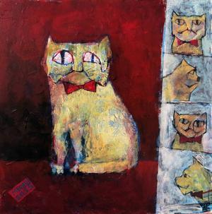 Konstnären Mehran Mahdavis mångfasetterade kattporträtt fördjupar utställningen.