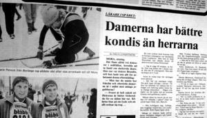 Tidningsartikel från Falu Kuriren 1981, dagen efter det att kvinnor tilläts åka Vasaloppet.