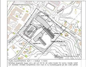 Så här ser ett av förslagen ut för Timrås nya centrumområde. Den gamla skolan behålls men byggs ut och kompletteras med en ny bostadsbyggnad på södra gården.