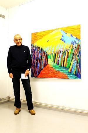 Bertil Åhréus vid målningen