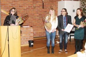 Marit Manfredsdotter kulturstipendiat, Elsa Håkansson Fermbäck, idrottsstipendiat och Stefan Hallgren och Sol Vikström från Happy Minds Studios, kulturpristagare i Härjedalens kommun 2013