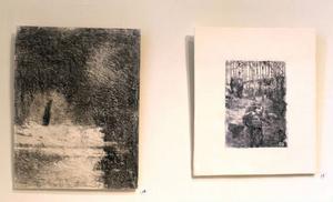 Fotolitografier av Elin Ståhl som visas på Drejeriet just nu.