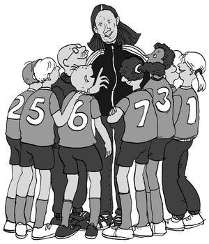 """Handbollslegendar. I """"Passa som Staffan Olsson!"""" får Vagntunas Lejon oväntat hjälp av den svenske handbollshjälten. Illustration: Johan Hesselstrand"""