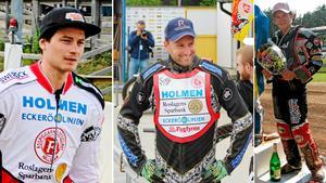 Från vänster John Lindman, Freddie Eriksson och Jonatan Grahn kommer att ingå i startsjuan för nybildade allsvenska laget Norra Speedwayalliansen.