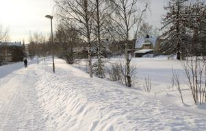 Marken till höger, intill gångvägen vid Skidan, är aktuell för tio nya lägenheter. Dessa beräknas vara klara i höst och byggs också nyckelfärdigt.