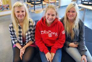 Hanna Johansson, Johanna Bakke och Moa Silén från Järvsö ska snart välja gymnasieutbildning.