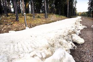 Den sparade snön har lagts i ett lagom tjockt lager, färdig att åka på från i dag fredag.