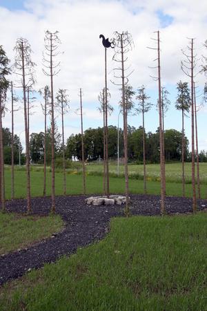 Med humlestörar har Ulla Viotti skapat utomhusverket Boplats. I centrum sitter Ockelbofågeln från runstenen.