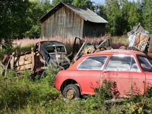 De här skrotbilarna syns tydligt från väg 339, utanför Strömsunds samhälle. Kommunen har antagit riktlinjer som ska underlätta beslut om åtgärder, när tomter uppfattas som nedskräpade.