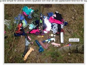 Här är högen som enligt Hoforsbloggen hittades mitt ute i skogen.