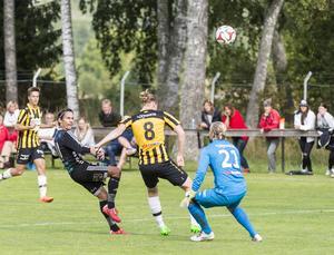 Tobias Lööf lobbar bollen över Västerås målvakten fram till 2-0. Till slut vann Strömsberg den viktiga matchen med 4–0.