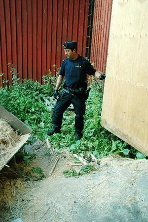 Martin Bergström från Östersundspolisen skickades i går till Ålsta sågverk för att undersöka spåren efter bränderna och säkra eventuella bevis.Foto: Sandra Högman