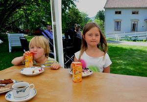 Vanja och Primus Brändfors tyckte tårtan var god. Chokladtårtan var favorit hos Vanja.